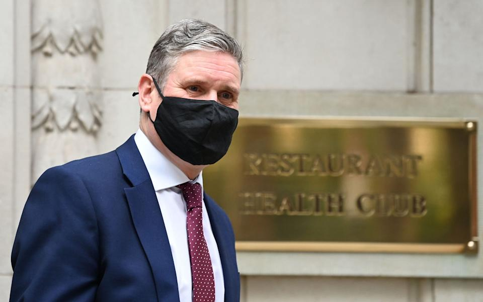 Mr Starmer, leaving BBC studios in Millbank this morning -  FACUNDO ARRIZABALAGA/EPA-EFE/Shutterstock