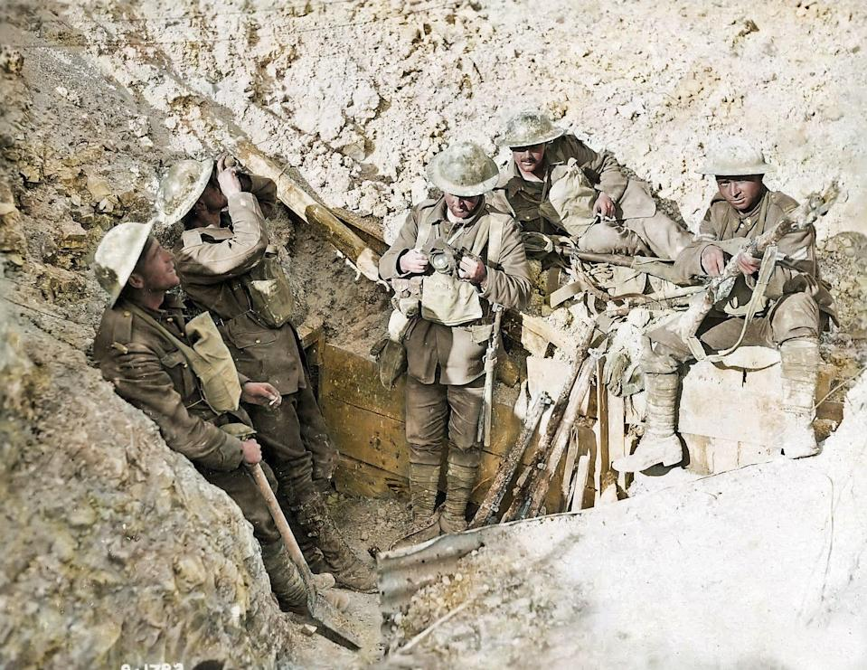 <p>Canadian soldiers in a captured trench (Royston Leonard / Media Drum World / Caters News) </p>