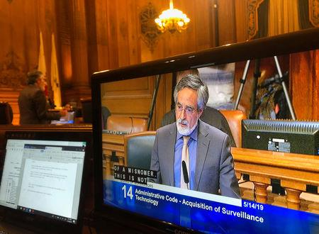 City Supervisor Aaron Peskin speaks before a vote on a surveillance technology ordinance that he sponsored, in San Francisco, California, U.S., May 14, 2019. REUTERS/Jeffrey Dastin