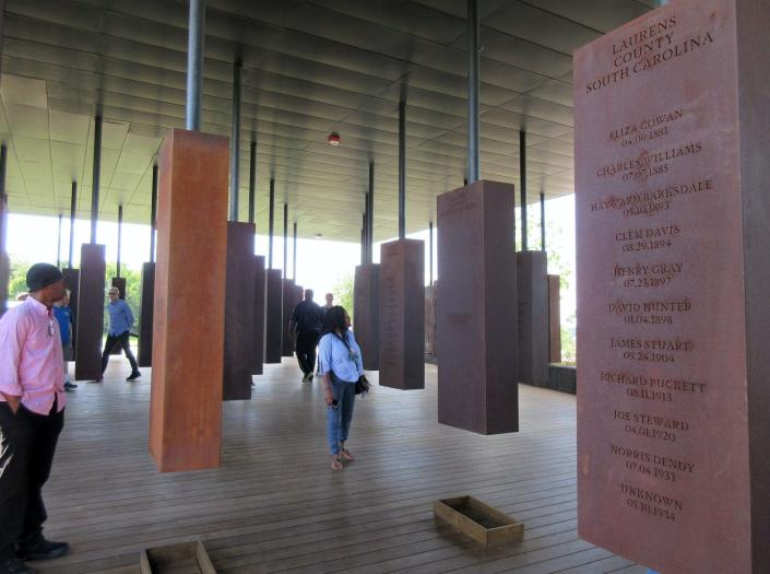 "<span class=""caption"">The National Memorial for Peace and Justice in Montgomery, Alabama, documents the lynchings of more than 4,400 people between 1877 and 1950.</span> <span class=""attribution""><a class=""link rapid-noclick-resp"" href=""http://www.apimages.com/metadata/Index/Travel-Montgomery/df14efeeb28443cf953a1f2fc5d4b9d1/30/0"" rel=""nofollow noopener"" target=""_blank"" data-ylk=""slk:AP Photo/Beth J. Harpaz"">AP Photo/Beth J. Harpaz</a></span>"