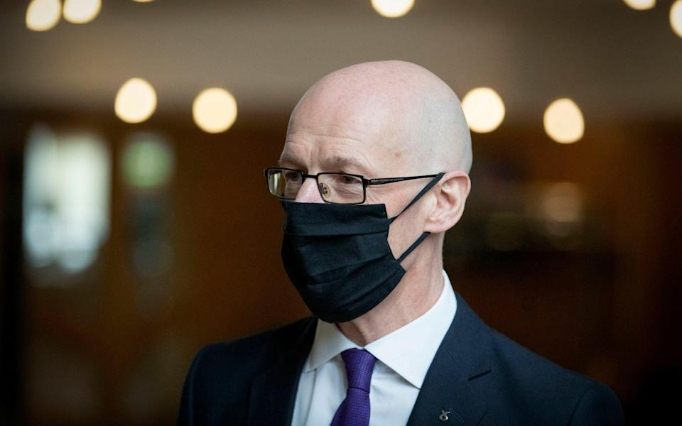 John Swinney, the deputy First Minister, released sections of advice after it became clear he could lose his job - Pool/Getty