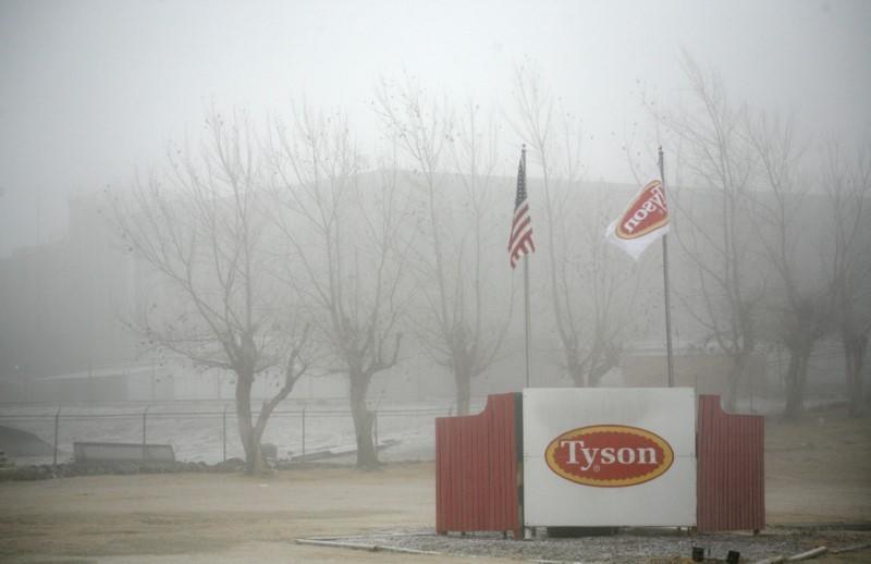 FILE PHOTO: Fog shrouds the Tyson slaughterhouse in Burbank, Washington