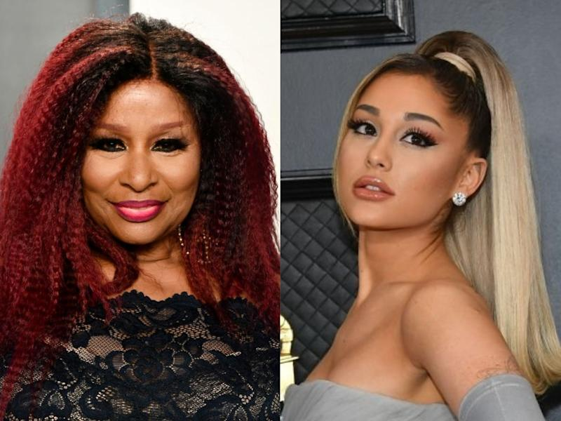 Chaka Khan and Ariana Grande at events in early 2020 (Frazer Harrison/Amy Sussman/Getty)