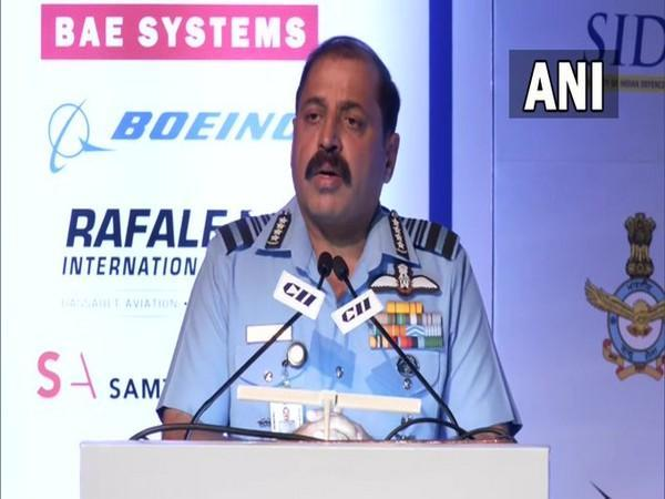 Chief of the Air Staff, Air Chief Marshal Rakesh Kumar Singh Bhadauria addressing a conference in New Delhi on Wednesday. [Photo/ANI]