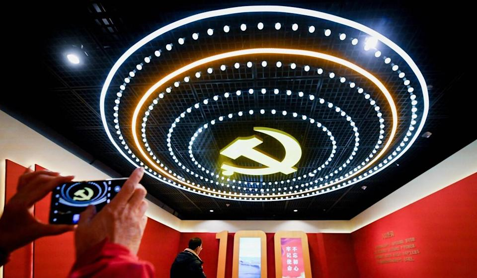 Visitors at an exhibition in Beijing to mark the 100th founding anniversary of the Communist Party of China. Photo: AFP