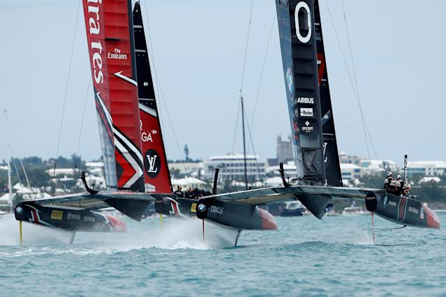 Sailing - America's Cup finals - Hamilton, Bermuda - June 24, 2017 - Emirates Team New Zealand and Oracle Team USA race off the start line in race five of America's Cup finals. REUTERS/Mike Segar