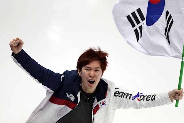 Speed Skating - Pyeongchang 2018 Winter Olympics - Men's 1000m competition finals - Gangneung Oval - Gangneung, South Korea - February 23, 2018 - Bronze medalist Tae-Yun Kim of South Korea celebrates. REUTERS/Lucy Nicholson