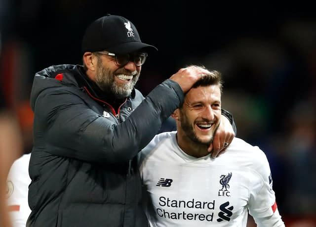 The Reds' unbeaten start was under severe threat until substitute Adam Lallana salvaged a 1-1 draw at bitter rivals Manchester United in October with an 85-minute equaliser. The midfielder's late intervention at Old Trafford was his first goal since May 2017 (Martin Rickett/PA)