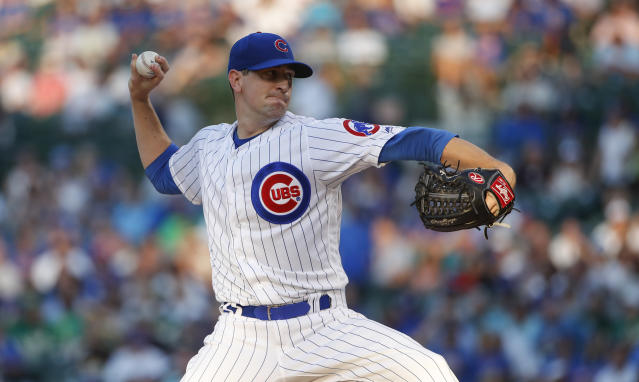Chicago Cubs starting pitcher Kyle Hendricks delivers against the Oakland Athletics during the first inning of a baseball game, Monday, Aug. 5, 2019, in Chicago. (AP Photo/Kamil Krzaczynski)