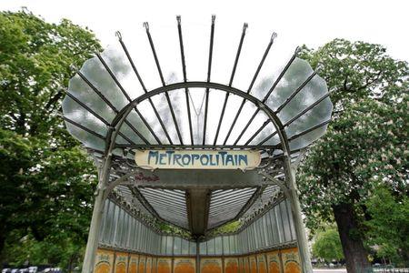 FILE PHOTO: Close up view of Dauphine metro station in Paris May 7, 2009.  REUTERS/Charles Platiau/File Photo