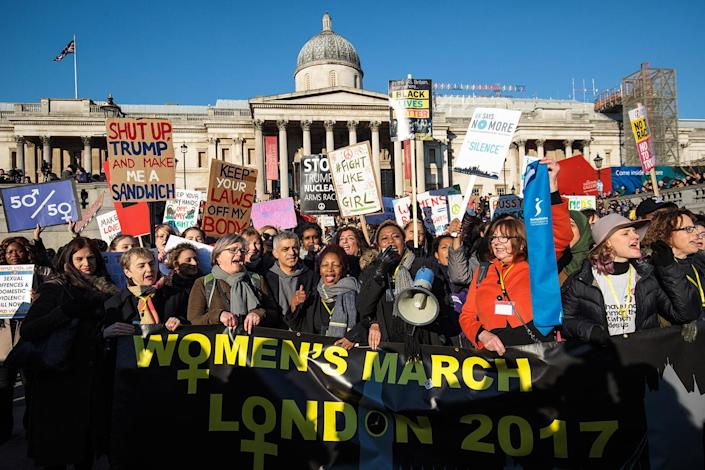 <p>Protesters chant as they arrive in Trafalgar Square during the Women's March on Jan. 21 in London. (Jack Taylor/Getty Images) </p>