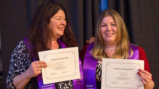 PHOTO: Paula O'Neil, 52, and her daughter Chantel Batuk, 31, will both graduate in 2017 from the State University of New York at Albany. (Erin Nagy)