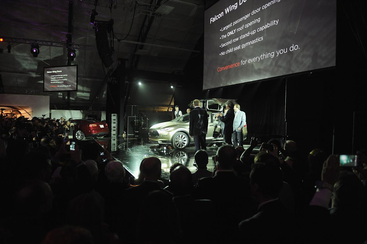 LOS ANGELES, CA - FEBRUARY 09:  General view of the atmosphere during Tesla Worldwide Debut of Model X on February 9, 2012 in Los Angeles, California.  (Photo by Jason Merritt/Getty Images for Tesla)