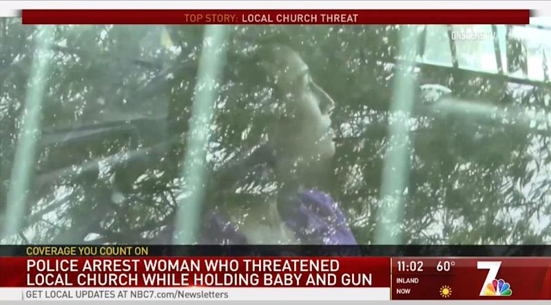 Anna Conkey, 31, arrested after bursting into church with her baby and a gun in hand. (Photo: KNSD)