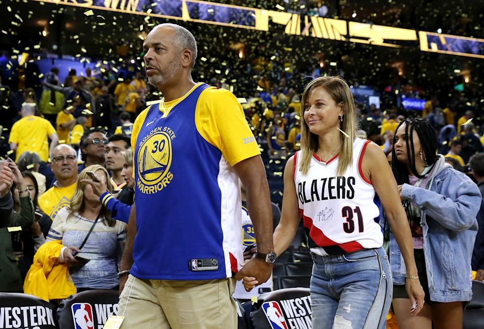OAKLAND, CALIFORNIA - MAY 14: Dell Curry and Sonya Curry, parents of Stephen Curry #30 of the Golden State Warriors (not pictured) and Seth Curry #31 of the Portland Trail Blazers (not pictured) attend game one of the NBA Western Conference Finals at ORACLE Arena on May 14, 2019 in Oakland, California. NOTE TO USER: User expressly acknowledges and agrees that, by downloading and or using this photograph, User is consenting to the terms and conditions of the Getty Images License Agreement. (Photo by Ezra Shaw/Getty Images)