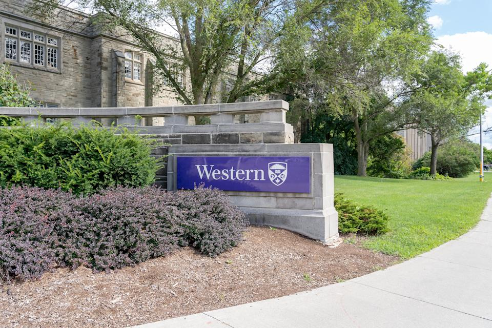 A Western University sign at one of the gates to the campus in London, Ont. on Aug. 30, 2020. (Photo: JHVEPhoto via Getty Images)