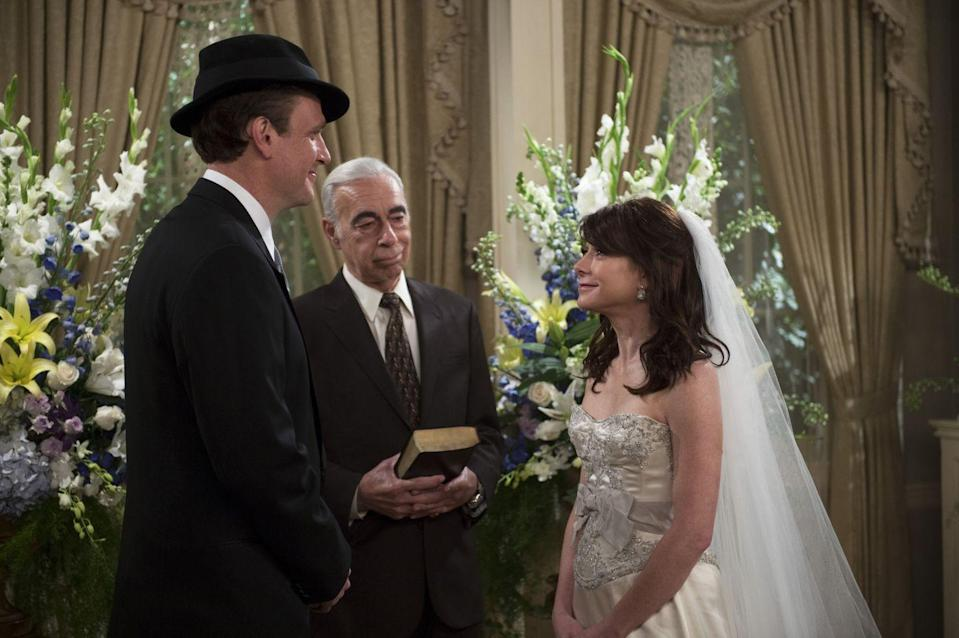 "<p>One of our favorite chapters of <em>How I Met Your Mother </em>was Lily and Marshall's wedding, and that's mostly because of her stunning dress. Of course, nothing on the actual wedding day went right– from her dress not fitting to her ex-boyfriend crashing the event– but her silk corseted gown with silver trimmings, <a href=""https://www.eonline.com/photos/11842/how-i-met-your-mother-s-12-most-memorable-fashion-moments"" rel=""nofollow noopener"" target=""_blank"" data-ylk=""slk:designed by Monique Lhuillier"" class=""link rapid-noclick-resp"">designed by Monique Lhuillier</a>, turned out to be flawless. </p>"