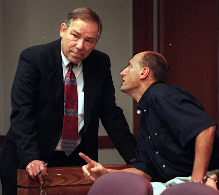 2/25/98 Al Diaz/Herald staff--At right is murder suspect Enrico Forti in courtroom at the Richard E. Gerstein Justice Building. At left is his defense attorney Donald Bierman.