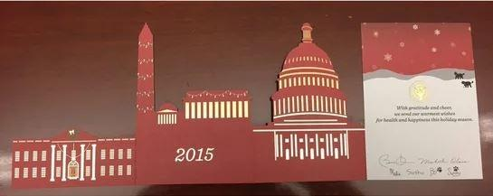 President Barack Obama's 2015 Christmas card, which pulled out to reveal a skyline of Washington DC monuments and landmarks.The White House