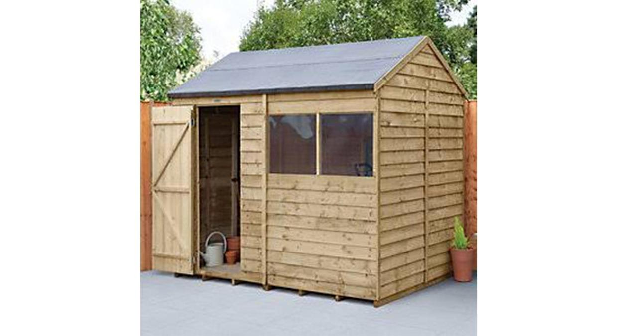 Forest Garden 8 X 6ft Overlap Reverse Apex Pressure Treated Shed (Wickes)