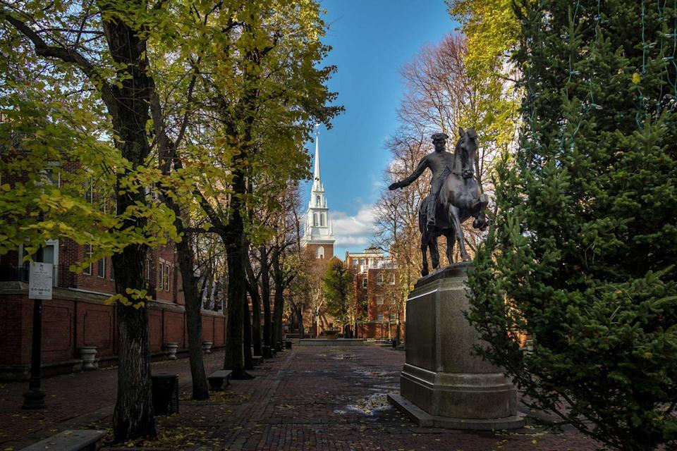 """<p><strong>The Freedom Trail</strong></p><p>This three-mile trail in Boston contains some of the most important historical sites in the country. The self-guided <a href=""""https://www.thefreedomtrail.org/"""" rel=""""nofollow noopener"""" target=""""_blank"""" data-ylk=""""slk:Freedom Trail"""" class=""""link rapid-noclick-resp"""">Freedom Trail</a> has 16 monuments including graveyards with the graves of notable signers of the Declaration of Independence John Hancock and Samuel Adams.</p>"""