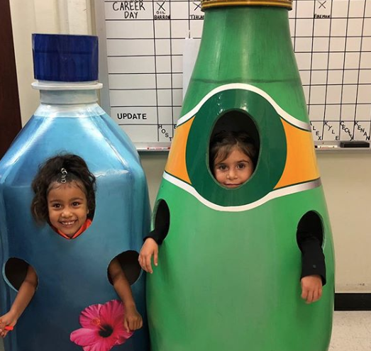 <p>Kanye West and Kim Kardashian's daughter North West joined her cousin Penelope Disick, daughter of Kourtney Kardashian and Scott Disick, in dressing up as water bottles. North went as Fiji water, while Penelope was a bottle of sparkling Perrier water. <em>[Photo: Instagram]</em> </p>