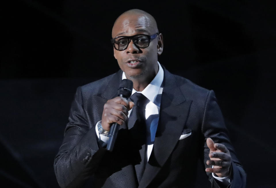 90th Academy Awards - Oscars Show - Hollywood, California, U.S., 04/03/2018 - Dave Chappelle  presents the Best Original Song nominee Stand Up for Something from Marshall. REUTERS/Lucas Jackson