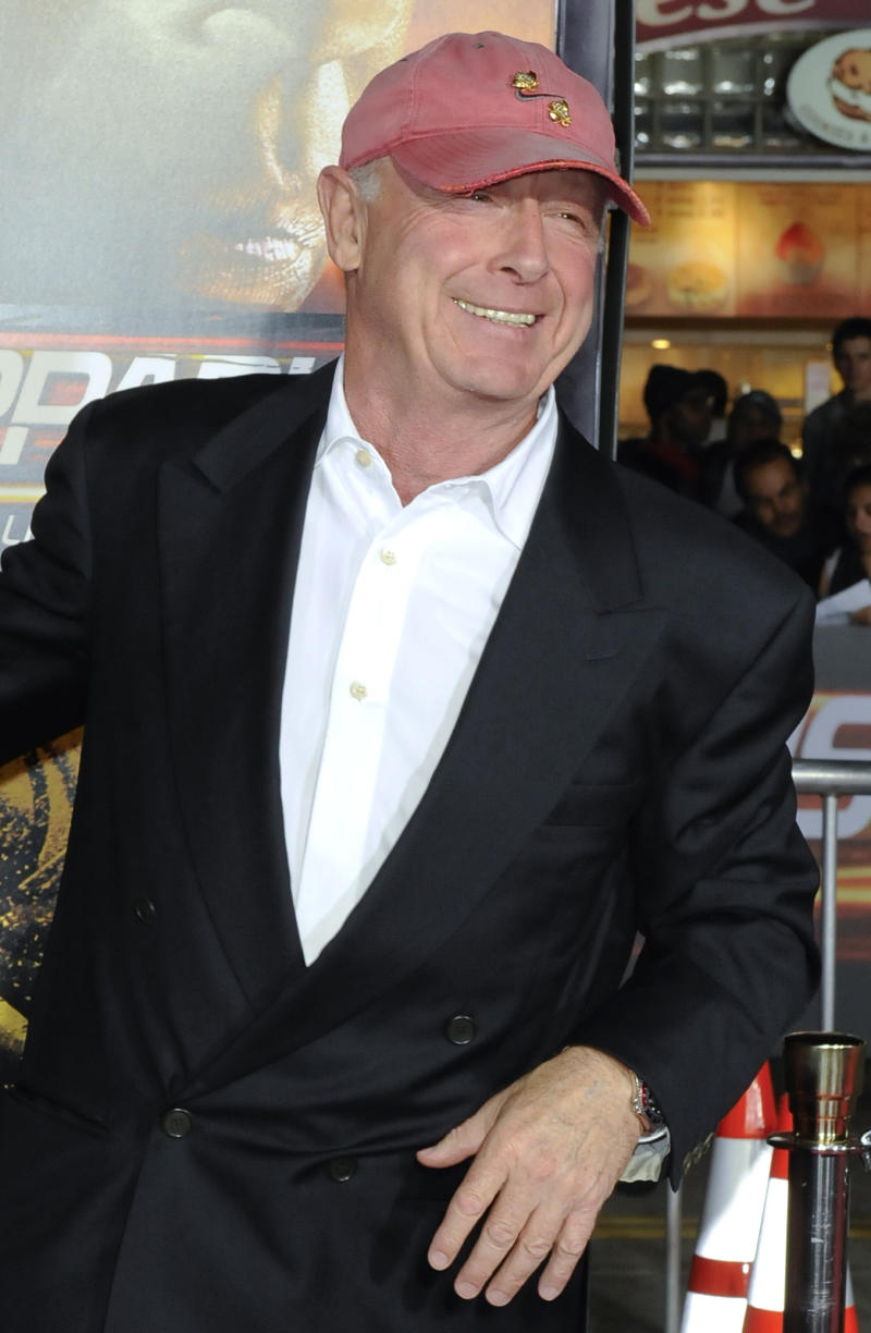 """FILE - In this Oct. 26, 2010 file photo, director Tony Scott arrives at the premiere of """"Unstoppable"""" in Los Angeles. Authorities say Scott died after jumping off a bridge in Los Angeles on Sunday, Aug. 19, 2012. (AP Photo/Gus Ruelas, File)"""
