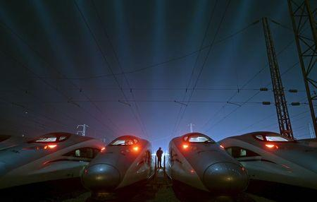 China Railway High-speed Harmony bullet trains are seen at a high-speed train maintenance base in Wuhan, Hubei province, China in this March 9, 2015 file photo.  REUTERS/Stringer