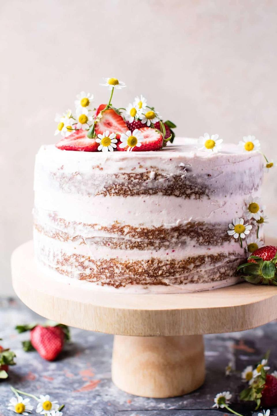 "<p>Bright, beautiful, and bursting with flavor, this delightful cake tastes like a sweet spring day. In every bite, you'll get to taste flavors of strawberry, coconut, and carrot that work together with a rich mascarpone buttercream that's enough to make anyone's heart skip a beat. Top it off with seasonal flowers, and your work here is done.</p> <p><strong>Get the recipe</strong>: <a href=""https://www.halfbakedharvest.com/strawberry-coconut-carrot-cake-with-mascarpone-buttercream/"" class=""link rapid-noclick-resp"" rel=""nofollow noopener"" target=""_blank"" data-ylk=""slk:strawberry coconut carrot cake with mascarpone buttercream"">strawberry coconut carrot cake with mascarpone buttercream</a></p>"