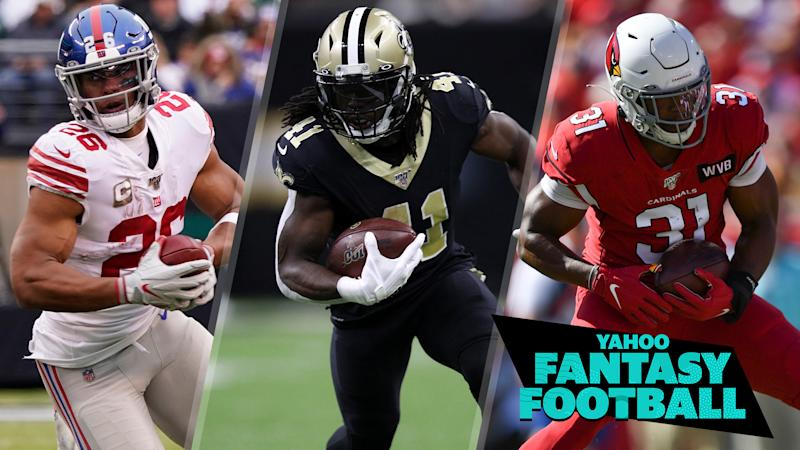 Saquon Barkley, Alvin Kamara & David Johnson all disappointed fantasy owners this Sunday. (Photo credits L to R: Gregory Fisher, Chris Graythen, Roy K. Miller/Icon Sportswire via Getty Images)
