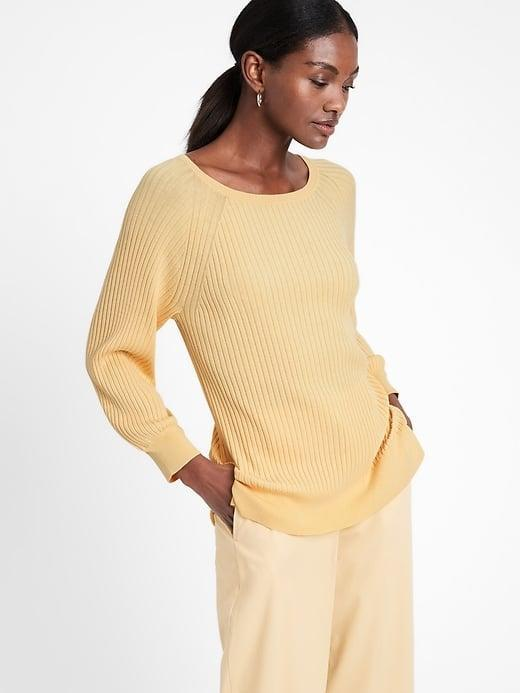 <p>Welcome in the warmth with this sunny <span>Banana Republic Ribbed Boat-Neck Sweater Top</span> ($71, originally $80).</p>