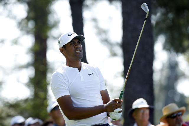 Tony Finau of the U.S. watches his tee shot on the 4th hole during second round play of the 2018 Masters golf tournament at the Augusta National Golf Club in Augusta, Georgia, U.S., April 6, 2018. REUTERS/Mike Segar