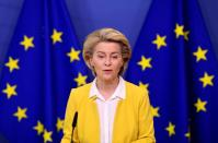 FILE PHOTO: EU Commission President von der Leyen delivers a statement on EU's vaccine strategy, in Brussels