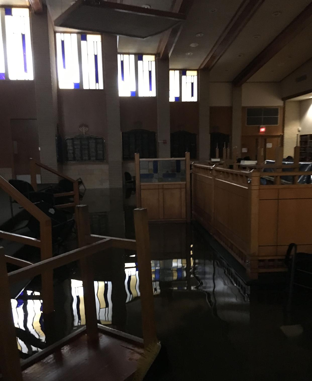 The main sanctuary in southwest Houston was flooded after the storm. (Photo: Robert Levy)