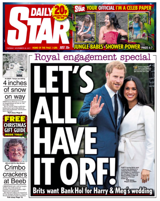 <em>The Daily Star are pushing for the country to have a Bank Holiday on the big day</em>