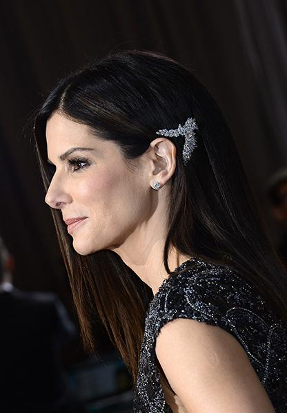 "Sandra Bullock - Maybe taking some style inspiration from the elves of ""The Hobbit,"" Bullock wore a strange-yet-mesmerizing Platinum by Harry Winston diamond hair brooch.<br /><br />"