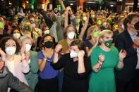 Reaction of the Greens party to exit poll results on general elections in Berlin