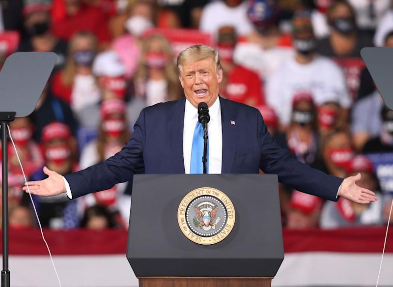 President Donald Trump speaks during his, 'The Great American Comeback Rally', at Cecil Airport on September 24, 2020 in Jacksonville, Florida. (Photo by Joe Raedle/Getty Images)