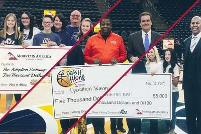 "During the 2019-2020 Utah Jazz season, Mountain America's ""Pass it Along"" program awarded $5,000 to five deserving charities: USANA Kids Eat, Operation Warm, Utah Parent Center, Raise the Future (formerly The Adoption Exchange), and Friends of GIANT Steps"