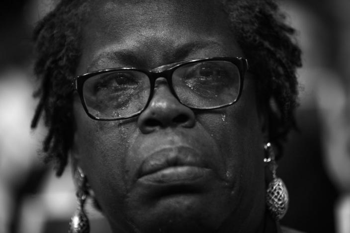 <p>Gilda Cobb-Hunter, serves in South Carolina House, cries while watching a video showing the confederate flag at the Democratic National Convention Wednesday, July 27, 2016, in Philadelphia, PA. It brought back memories of her friend Clem who was killed in the church shooting…she had known him since college. (Photo: Khue Bui for Yahoo News)</p>
