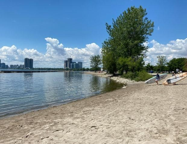 According to the city, the beaches currently deemed unsafe are Sunnyside Beach, pictured here, as well as Hanlan's Point Beach, Gibraltar Point Beach, Centre Island Beach and Ward Island's Beach. (Jessica Ng/CBC - image credit)
