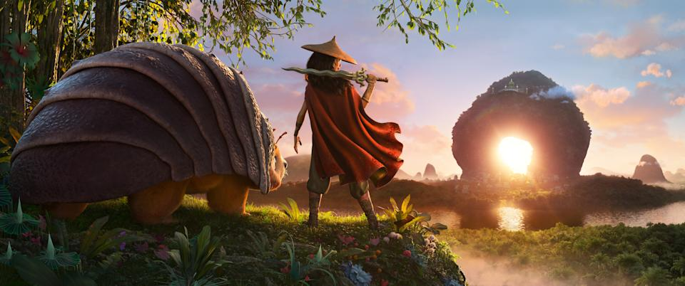 RAYA AND THE LAST DRAGON - As an evil force threatens the kingdom of Kumandra, it is up to warrior Raya, and her trusty steed Tuk Tuk, to leave their Heart Lands home and track down the last dragon to help stop the villainous Druun. (Disney)