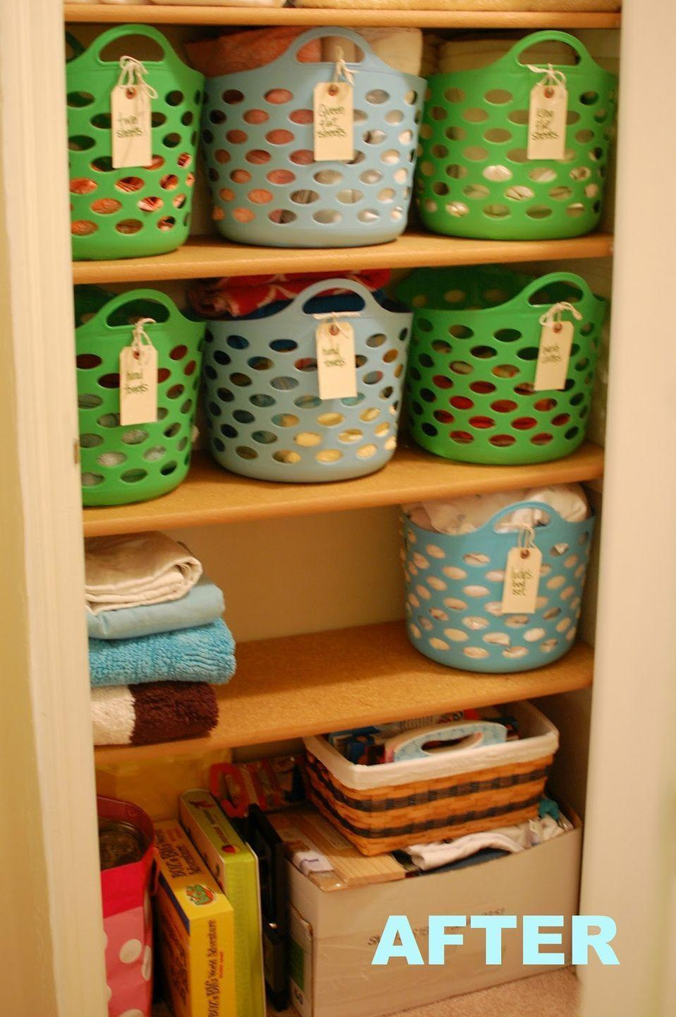 """<p>All you need to do to make your life way easier is invest in a few plastic baskets. Here, labels on the handle make it clear where twin sheets versus king sheets are stored.</p><p><em><a href=""""http://abirdandabean.com/2012/03/10-linen-closet-redo.html"""" rel=""""nofollow noopener"""" target=""""_blank"""" data-ylk=""""slk:See more at A Bird and a Bean »"""" class=""""link rapid-noclick-resp"""">See more at A Bird and a Bean »</a></em></p><p><strong>What you'll need: </strong><span class=""""redactor-invisible-space"""">colorful bins, $3, <a href=""""https://www.amazon.com/Wa-Desktop-storage-Colorful-Organizer/dp/B073B1SMQT/?tag=syn-yahoo-20&ascsubtag=%5Bartid%7C2139.g.36060899%5Bsrc%7Cyahoo-us"""" rel=""""nofollow noopener"""" target=""""_blank"""" data-ylk=""""slk:amazon.com"""" class=""""link rapid-noclick-resp"""">amazon.com</a></span><br></p>"""