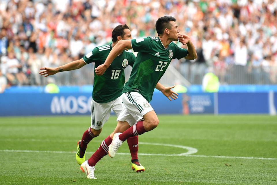 <p>Hirving Lozano of Mexico celebrates after scoring his team's first goal during the 2018 FIFA World Cup Russia group F match between Germany and Mexico at Luzhniki Stadium on June 17, 2018 in Moscow, Russia. (Photo by Dan Mullan/Getty Images) </p>