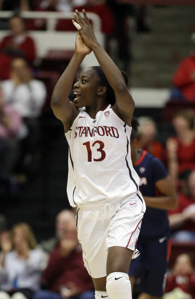 Stanford 's Chiney Ogwumike (13) celebrates after scoring against Arizona during the second half of an NCAA college basketball game in Stanford, Calif., Friday, Feb. 8, 2013. (AP Photo/Marcio Jose Sanchez)