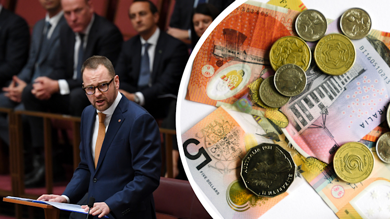 Pictured: Liberal Senator Andrew Bragg delivers his maiden speech, proposing voluntary super. Images: Getty