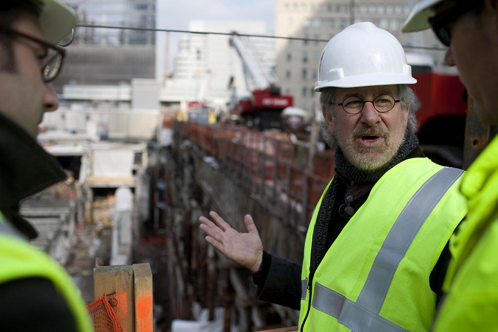 "Mr. Steven Spielberg tours Ground Zero as part of the making of the show ""Rising: Rebuilding Ground Zero."""