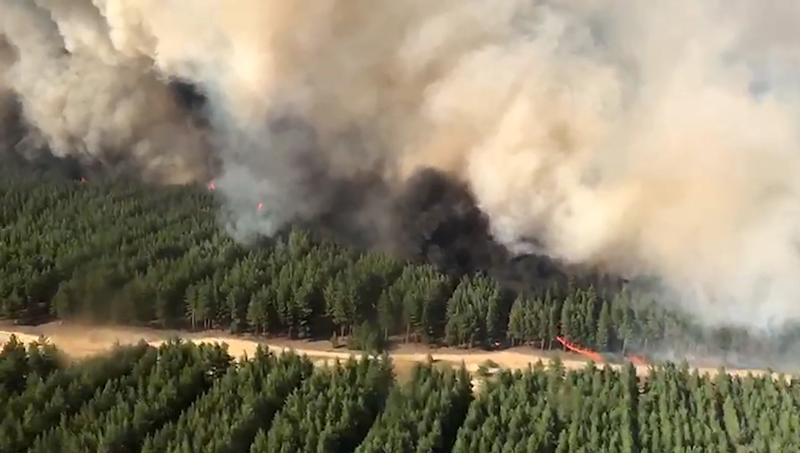 ROSTOV-ON-DON REGION, RUSSIA - SEPTEMBER 2, 2020: An aerial view of a wildfire in Belokalitvinsky District; the fire spread to 20 country houses in the Pioner gardening partnership. Four wildfires cover an area of around 16 hectares in several districts of the region. Best quality available. Video screen grab/Russian Emergencies Ministry/TASS THIS IMAGE HAS BEEN SUPPLIED BY A THIRD PARTY. EDITORIAL USE ONLY (Photo by Emercom\TASS via Getty Images)