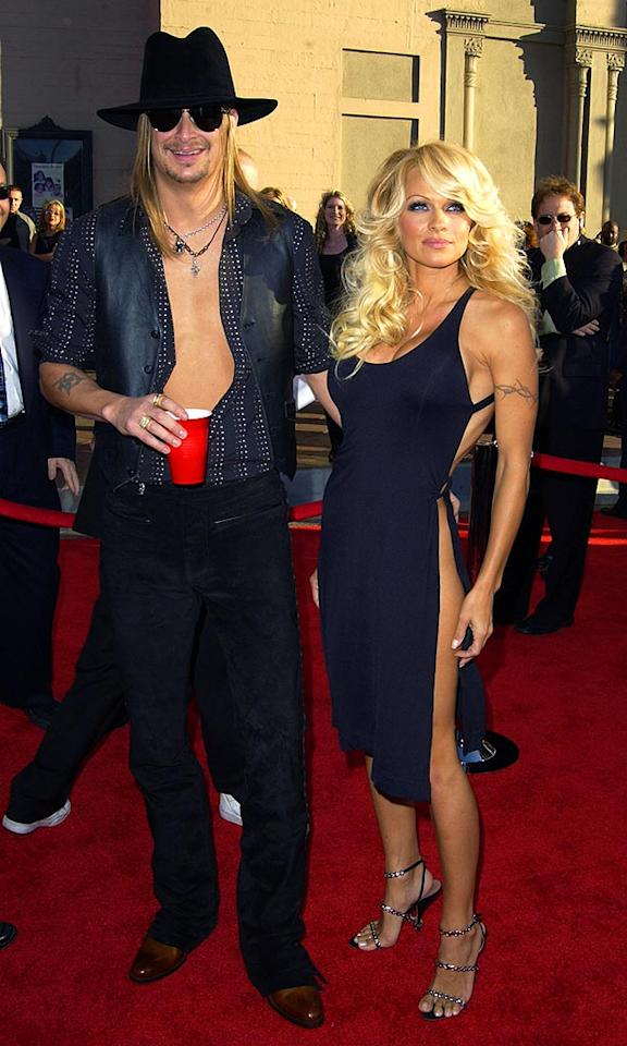 "During a break from Tommy Lee in '03, Pam hooked up with Kid Rock, but their affair quickly fizzled out. However, three years later the dynamic duo rekindled their romance and married. Four months later, they were divorced. Steve Granitz/<a href=""http://www.wireimage.com"" target=""new"">WireImage.com</a> - November 16, 2003"